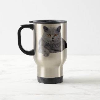British shorthair cat travel mug