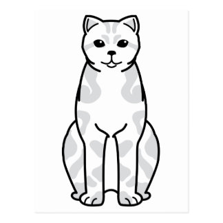 British Shorthair Tabby Cat Cartoon Postcard