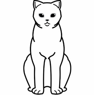 British Shorthair Tipped Cat Cartoon Standing Photo Sculpture
