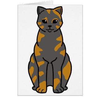 British Shorthair Tortie Cat Cartoon Card