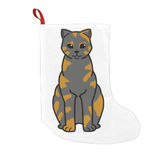 British Shorthair Tortie Cat Cartoon Small Christmas Stocking