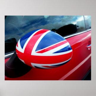 British side view mirror British flag car poster