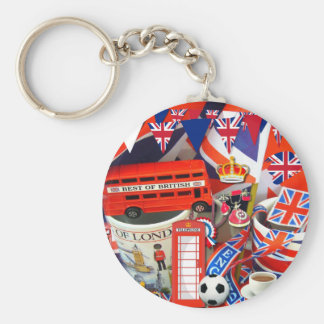 British Souvenirs Basic Round Button Key Ring