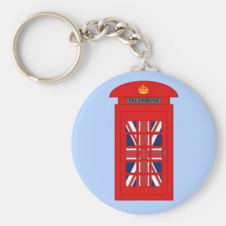 British Telephone Box Basic Round Button Key Ring