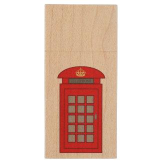 British Telephone Box Wood USB 3.0 Flash Drive