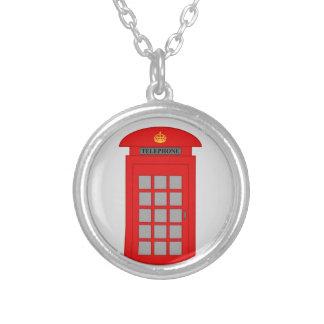 British Telephone Box Round Pendant Necklace