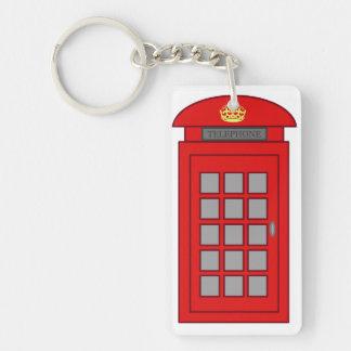 British Telephone Box Single-Sided Rectangular Acrylic Key Ring