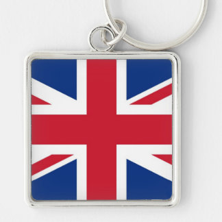 British UK Britain Union Jack flag Silver-Colored Square Key Ring