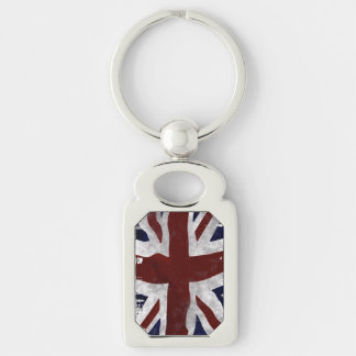 British Union flag Union Jack patriotic design Silver-Colored Rectangle Key Ring