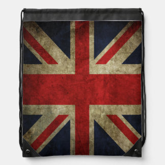 British Union Jack Antique English Flag Drawstring Bag