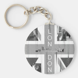 British Union Jack Flag Basic Round Button Key Ring