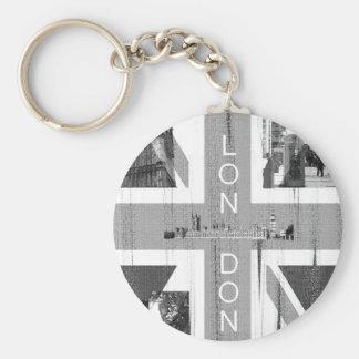 British Union Jack Flag Basic Round Button Key Ring