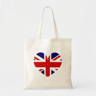 British Union Jack flag heart symbol tote bag