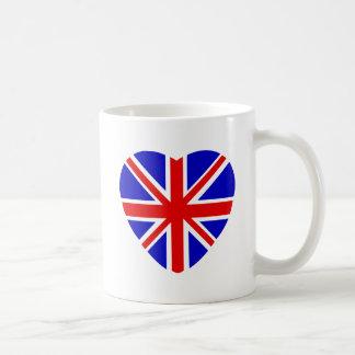 British Union Jack flag in heart shape Basic White Mug