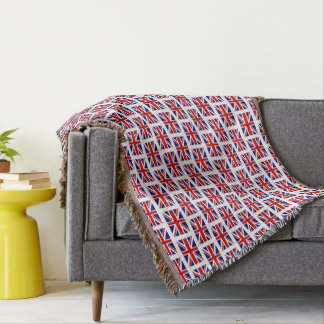 British Union Jack flag pattern throw blanket