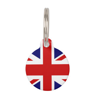 British Union Jack flag pet tag for dog or cat