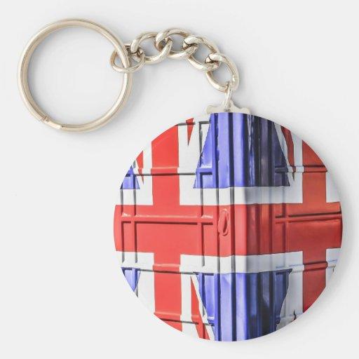 British Union Jack Flag Phone Box Key Chains