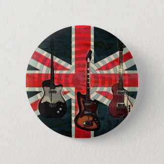 British Union Jack Flag Rock Roll Electric Guitar 6 Cm Round Badge
