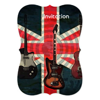 British Union Jack Flag Rock Roll Electric Guitar Card