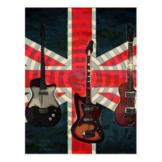 British Union Jack Flag Rock Roll Electric Guitar Postcard