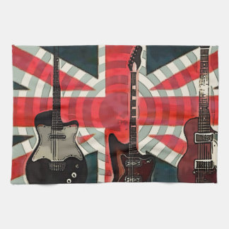 British Union Jack Flag Rock Roll Electric Guitar Tea Towel