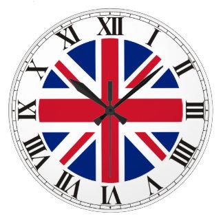 British Union Jack Flag Roman Numerals Large Clock