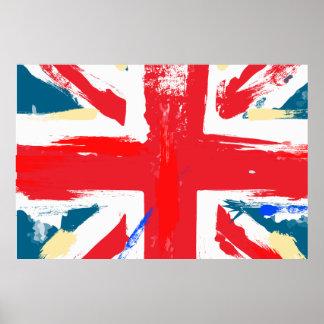 British Union Jack Flag Vintage Worn Poster