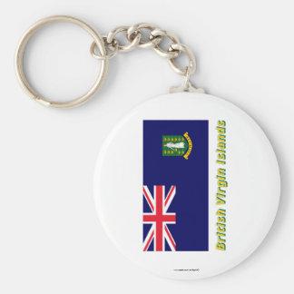 British Virgin Islands Flag with Name Key Chain