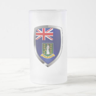 British Virgin Islands Mettalic Emblem Frosted Glass Beer Mug