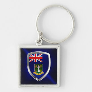 British Virgin Islands Mettalic Emblem Silver-Colored Square Key Ring