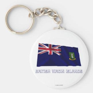 British Virgin Islands Waving Flag with Name Keychain