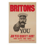 Britons Lord Kitchener Wants You WWI Propaganda Poster