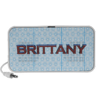 Brittany 3D text graphic over light blue lace Portable Speakers