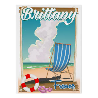 Brittany France beach travel poster