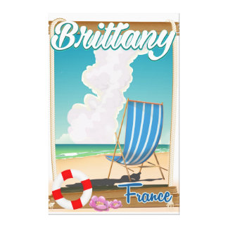 Brittany France beach travel poster Canvas Print