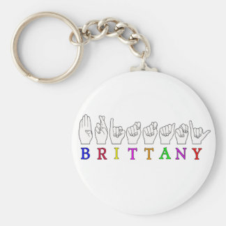 BRITTANY NAME ASL FINGERSPELLED FEMALE KEY RING