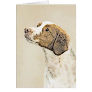 Brittany Painting - Cute Original Dog Art Card