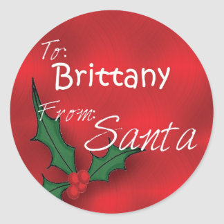 Brittany Personalised Holly Gift Tags From Santa Round Sticker