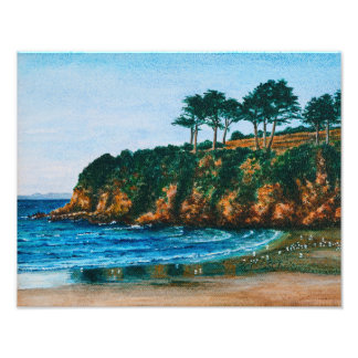 Brittany Rocky Coast Beach Painting - Paperprint Photo Print