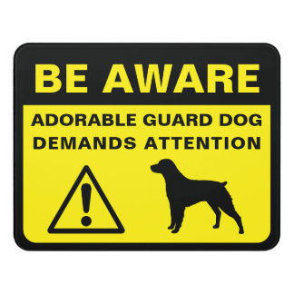 Brittany Silhouette Funny Guard Dog Warning Door Sign