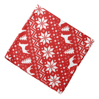 Brittany Silhouettes Christmas Pattern Red Bandana
