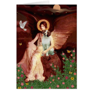 Brittany Spaniel 3 - Seated Angel Card
