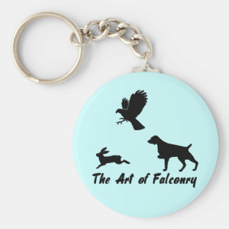 Brittany Spaniel and Falconry Basic Round Button Key Ring