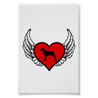 Brittany Spaniel Angel Heart Dog Silhouette Poster