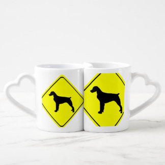 Brittany Spaniel Dog Caution or Crossing Sign Lovers Mugs