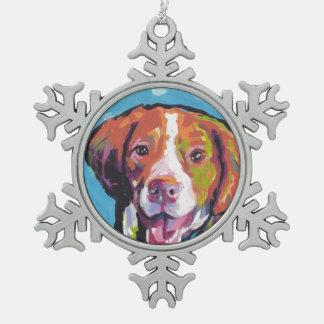 Brittany spaniel Dog fun bright pop art Snowflake Pewter Christmas Ornament