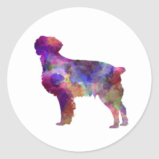 Brittany Spaniel in watercolor Classic Round Sticker