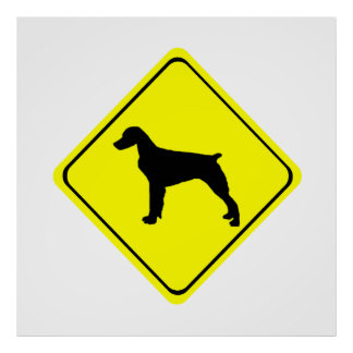 Brittany Spaniel Warning Sign Love Dogs Silhouette Poster