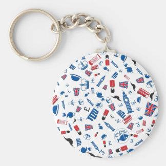 Brittish icons - colourfull pattern on white. basic round button key ring