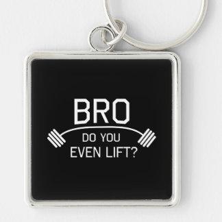 BRO Do You Even Lift? Silver-Colored Square Key Ring